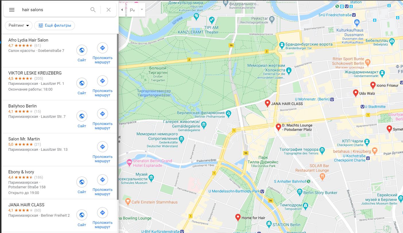 отображение карточек салонов на google карты