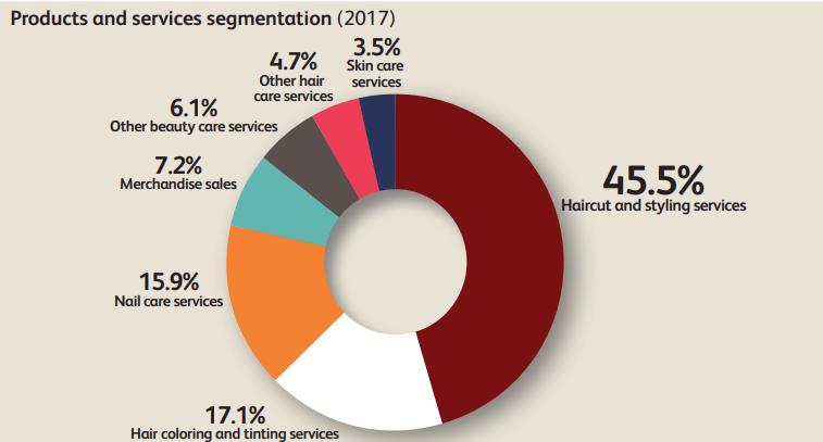 сегментация услуг и продуктов в салонах красоты США